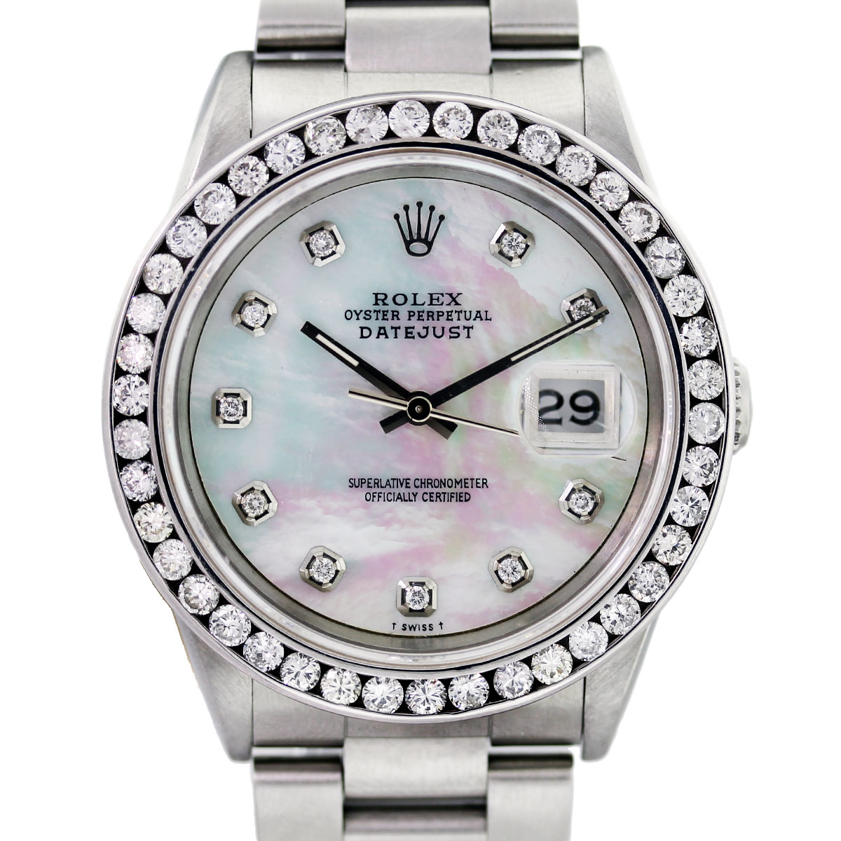 Rolex datejust 16220 mop diamond dial bezel watch boca raton for Diamond dial watch