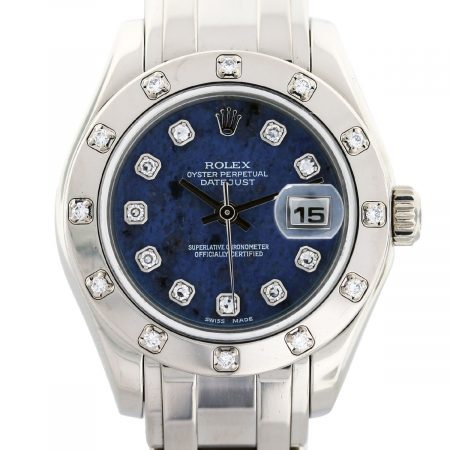 rolex pearlmaster white gold blue dial diamond bezel