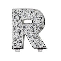 White Gold Pave Diamond R Initial Slide
