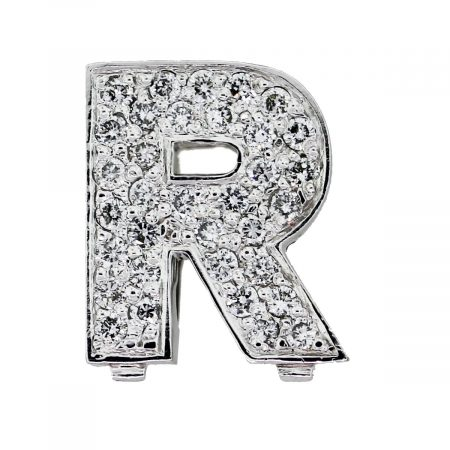 "White gold Pave diamond ""R"" Initial Slide"