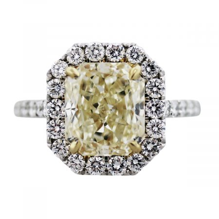 yellow diamond radiant cut engagement ring white gold yellow gold