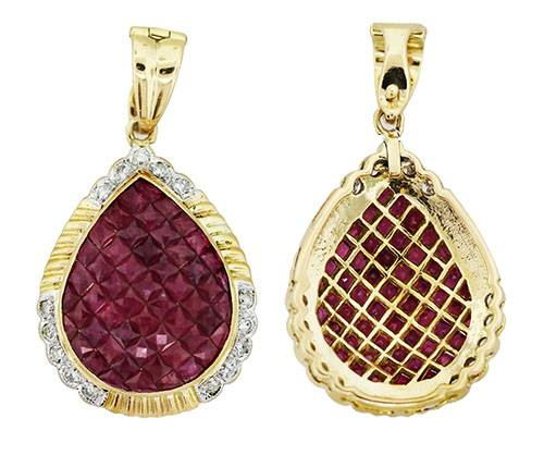18k Yellow Gold Invisibly Set Ruby and Diamond Teardrop Shaped Pendant
