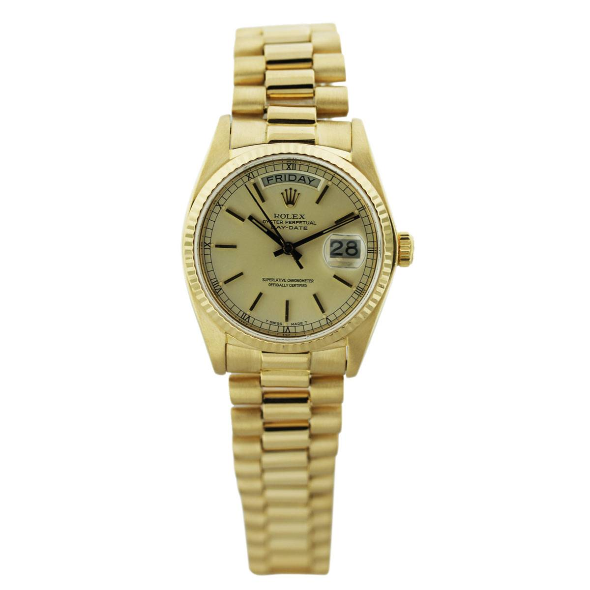 18k Yellow Gold Rolex 18038 Watch, pre owned rolex day date, rolex presidential