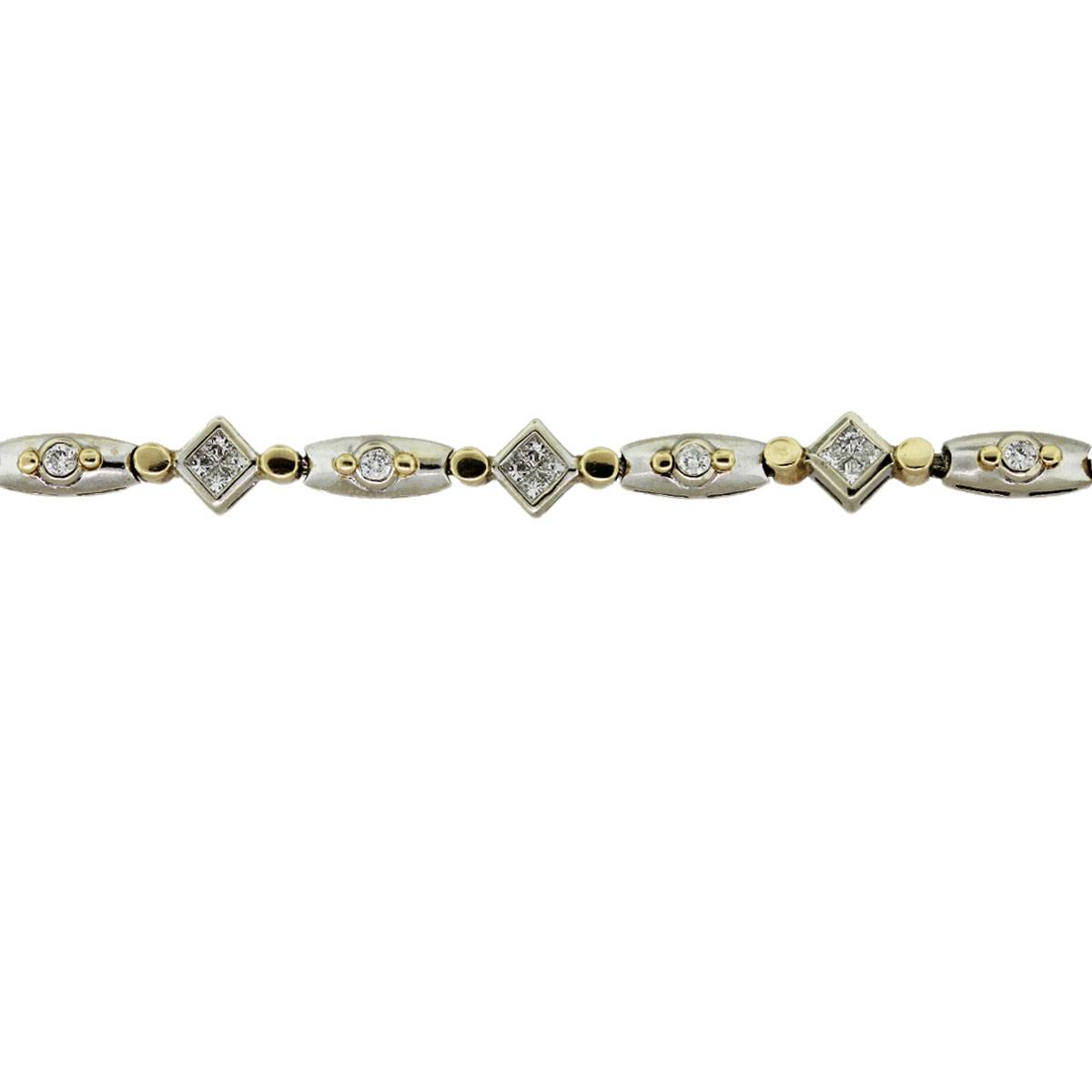 Two Tone Gold Diamond Tennis Bracelet