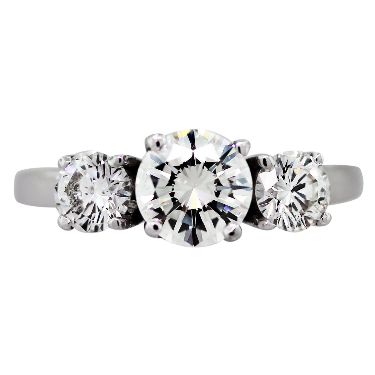 3 stone round brilliant engagement ring boca