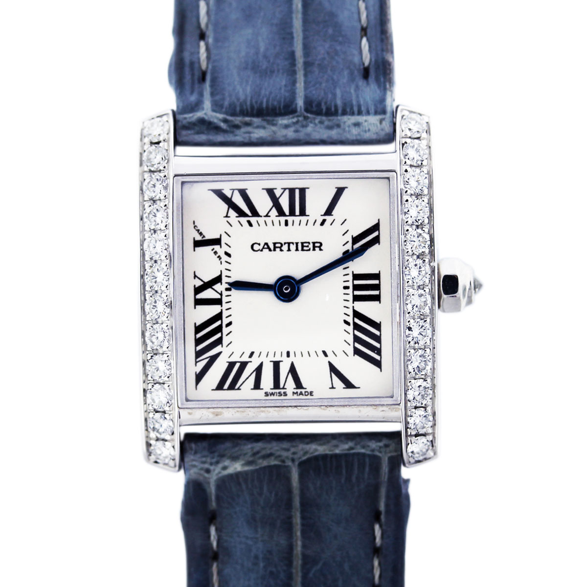 white gold cartier tank francaise with diamond bezel boca raton. Black Bedroom Furniture Sets. Home Design Ideas