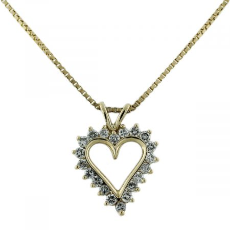 Yellow Gold Diamond Heart Pendant Chain Necklace