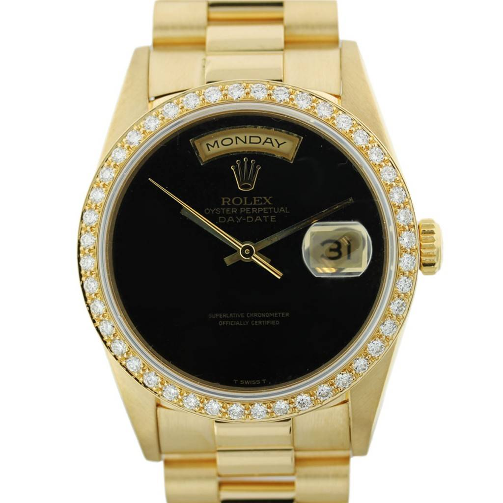 Gold Rolex President 18238 Black Onyx Dial Watch, pre owned rolex presidential