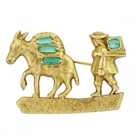 Emerald Man and Mule Pin