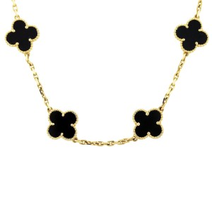 Onyx Van Cleef and Arpels Alhambra necklace