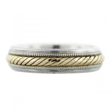 Two Tone Gold Rope Design Wedding Band