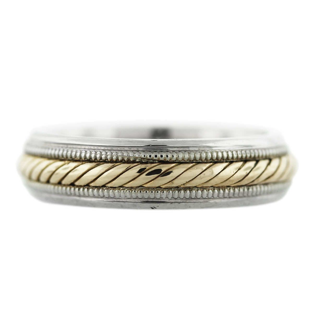 It is a picture of 40K Two Tone Gold Rope Design Mens Wedding Band