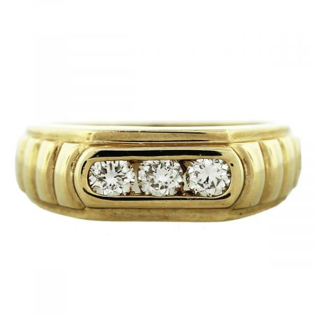 Yellow Gold 3 Stone Diamond Mens Ring