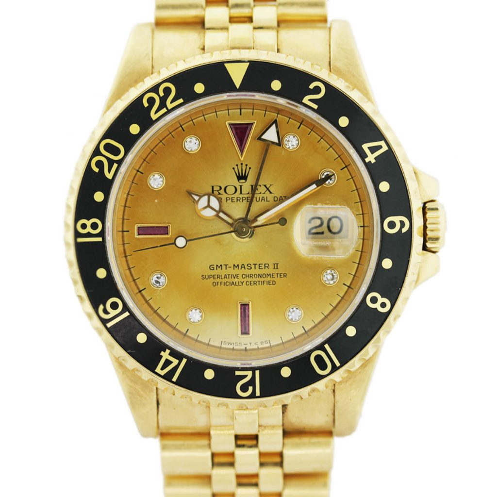 18k Gold Mens Rolex GMT Master II 16718 Ruby and Diamond ...