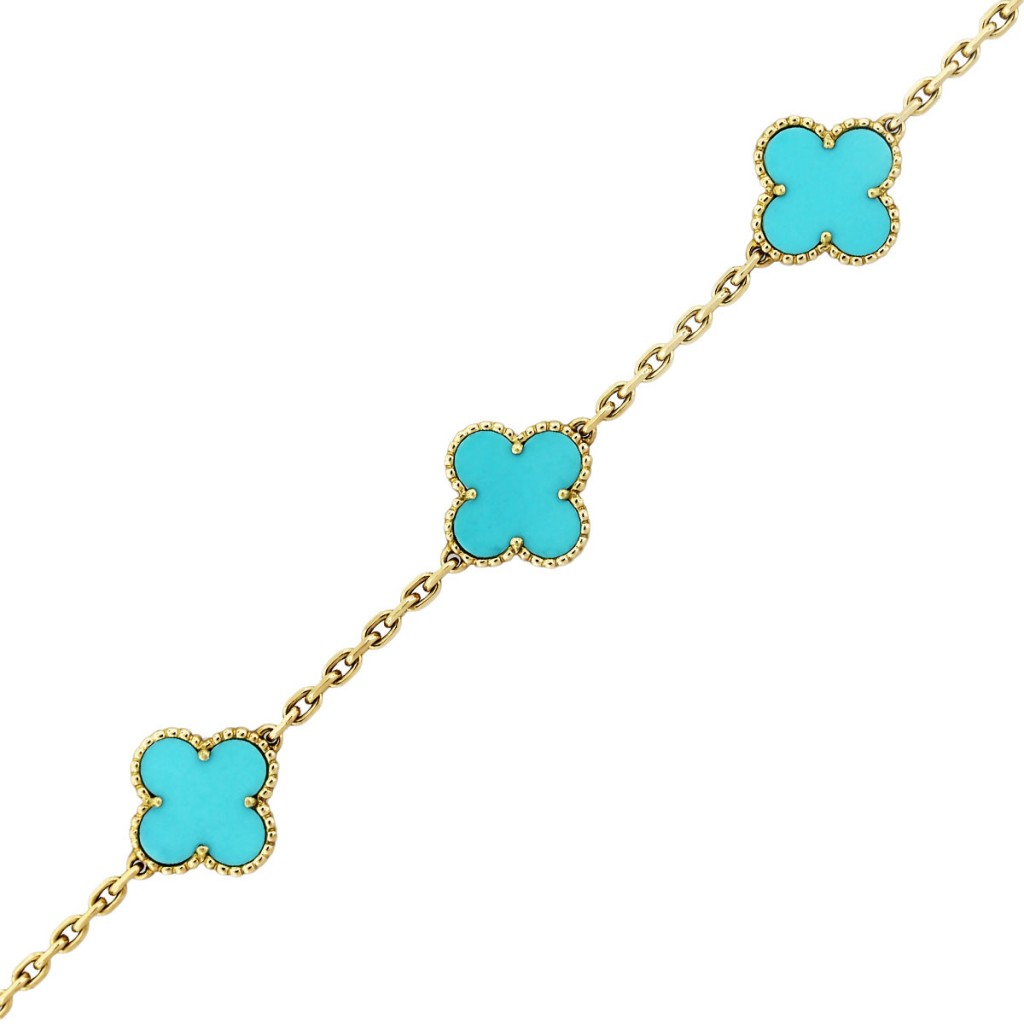 Van Cleef Vintage Alhambra Turquoise And 18k Yellow Gold Bracelet