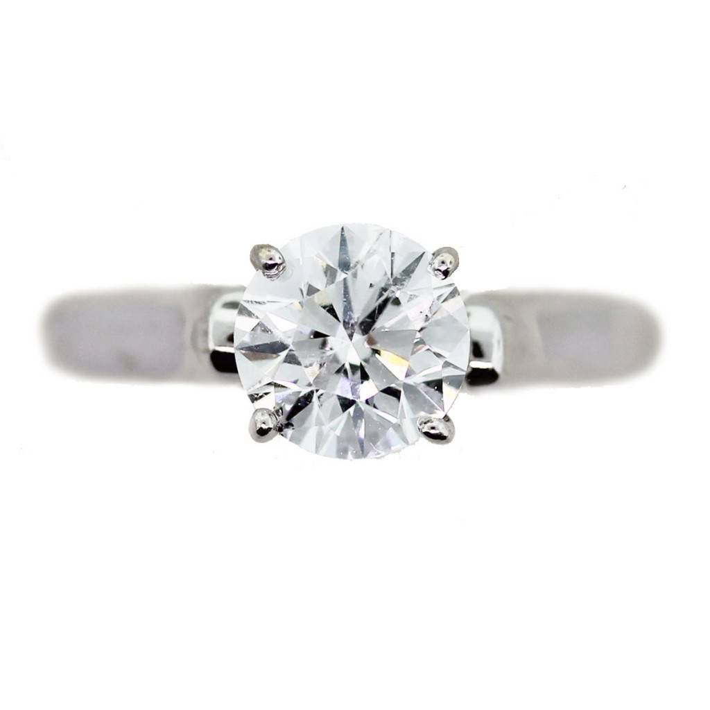 14k White Gold 1ct Round Brilliant Cut Engagement Ring With Gia