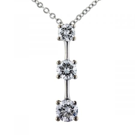 diamond 3 stone pendant necklace boca raton