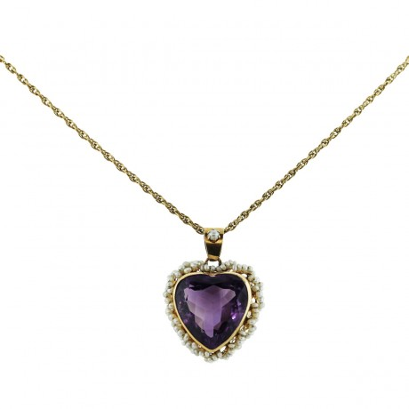 Gold Vintage Amethyst Seed Pearl Heart Shaped Pendant