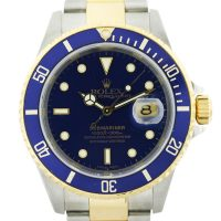 Rolex Submariner 16613 Two Tone Blue Dial Mens Watch