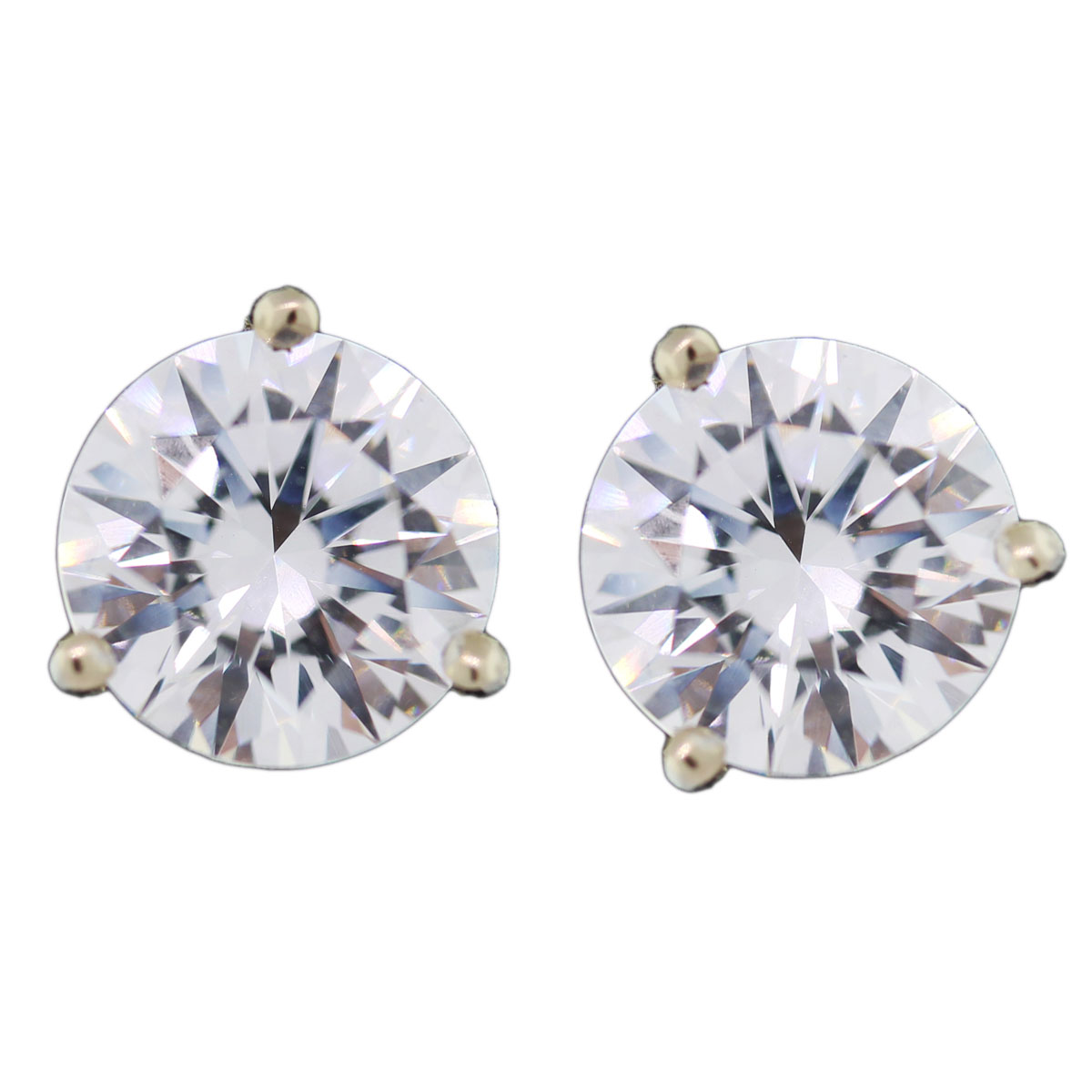 14k White Gold Cubic Zirconia 8mm Stud Earrings