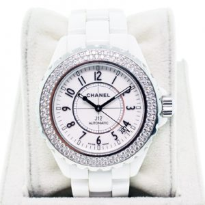 Chanel J-12 Ceramic with diamond bezel 38mm H0969, pre owned chanel j12