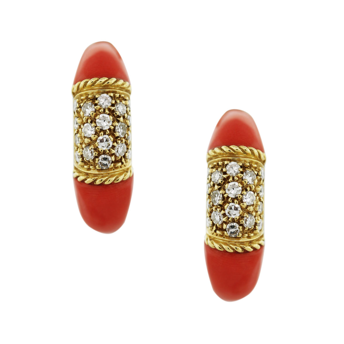 Diamond Coral Earrings