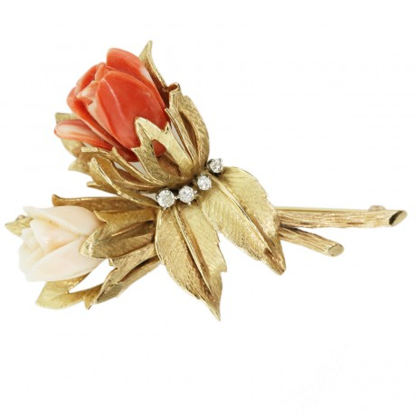 Yellow Gold Carved Coral Rose Bouquet Diamond Pin