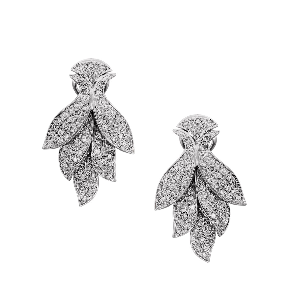 Diamond Pave Set Flower Earrings
