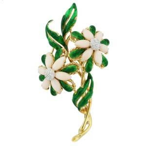 18k Yellow Gold Pink Coral Green Enamel Diamond Flower Pin