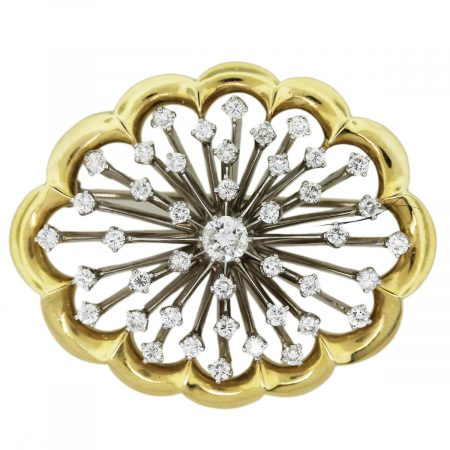Vintage Diamond Pin 18k Yellow Gold Platinum