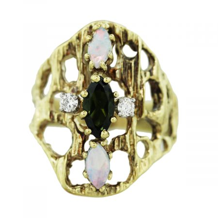 Diamond Tourmlaine and Opal Ring