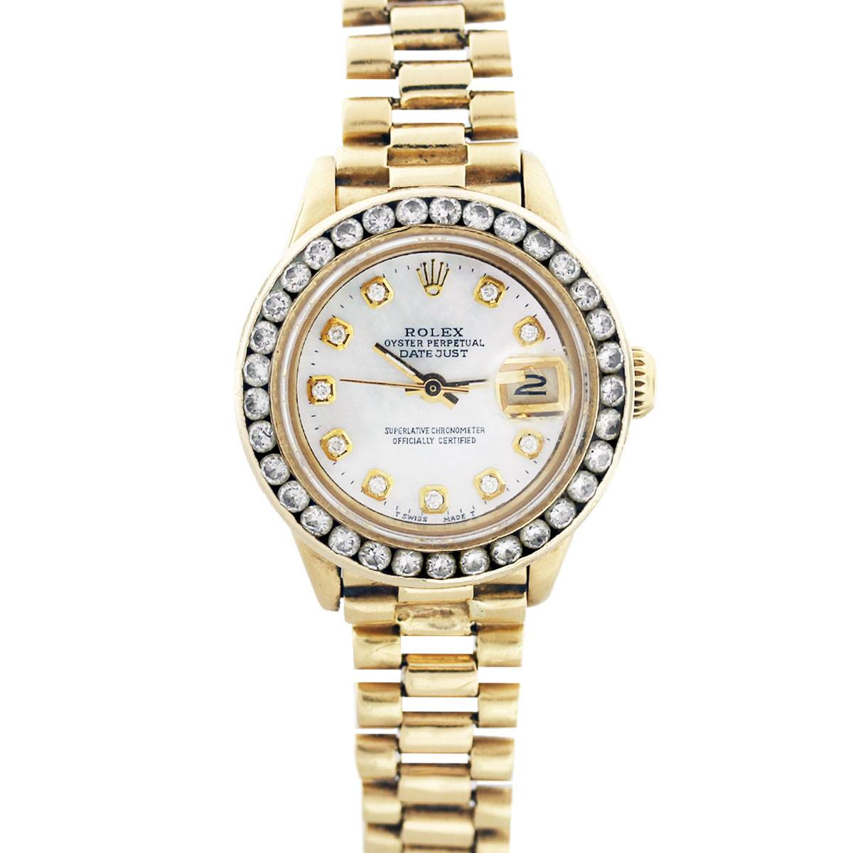Rolex 18K Yellow Gold Presidential 6917 Mother of Pearl Diamond Watch