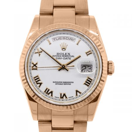 You are viewing this Rolex 118235 Rose Gold White Roman Presidential Watch!