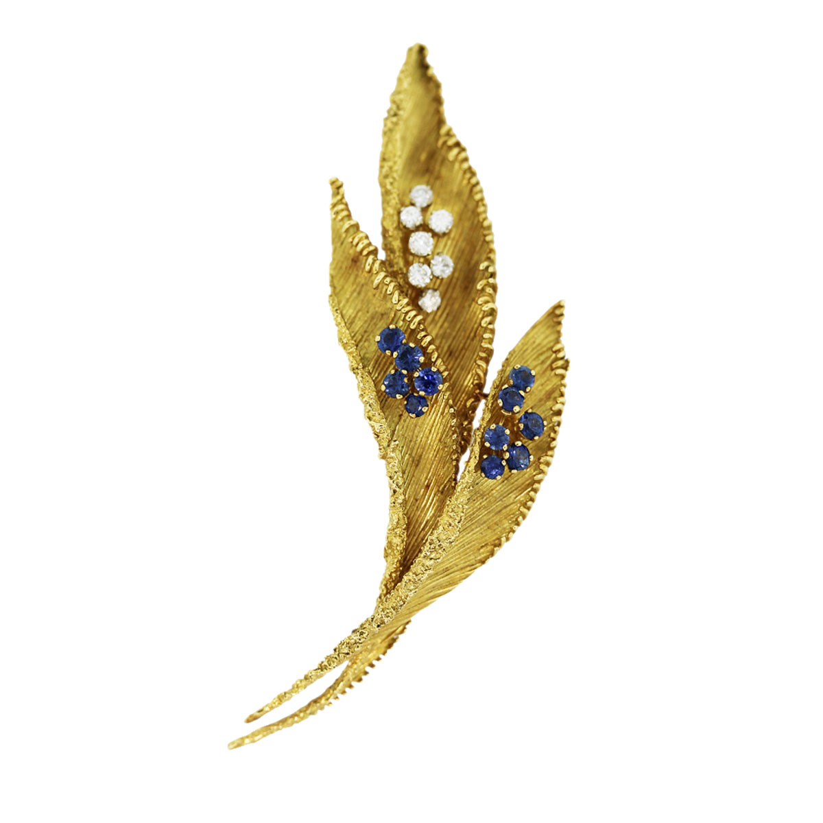 French Mad Diamond and Sapphire Pin