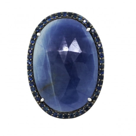 14k White Gold Oval 26.69ctw Sapphire Ring