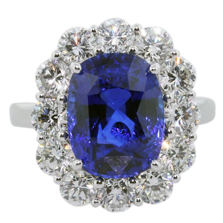 Vivid Blue Sapphire Diamond Platinum Ring, sapphire and diamond ring, sapphire and diamonds