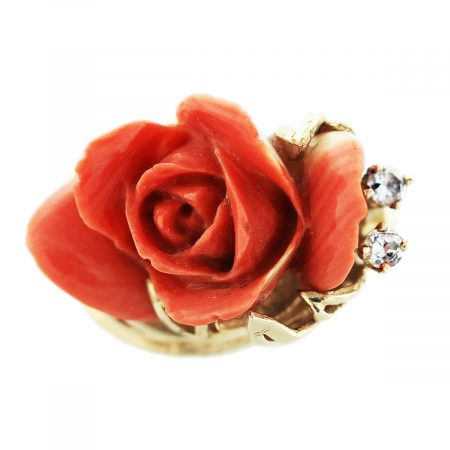 You are viewing this Carved Coral Rose Ring 14K Yellow Gold!