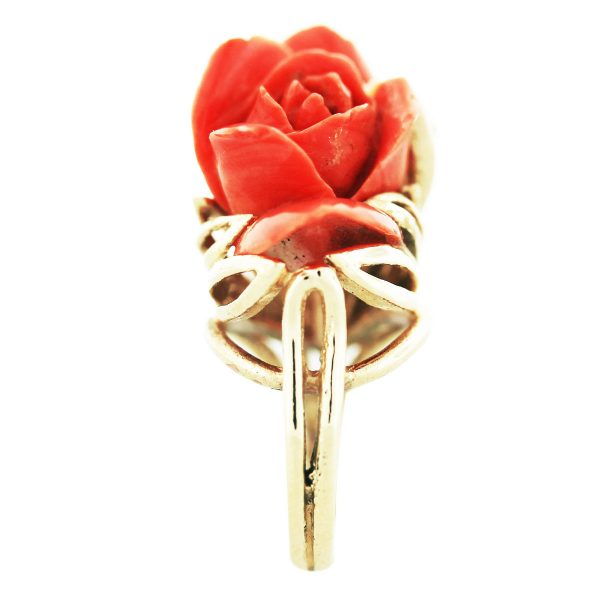 Carved Coral Rose Ring Yellow Gold