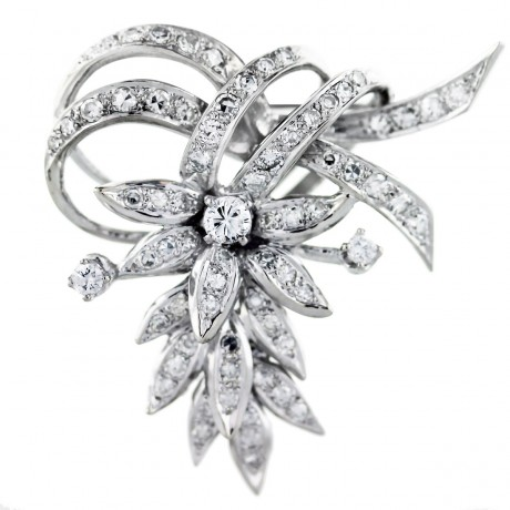 Vintage Platinum 3 Carat Diamond Pin