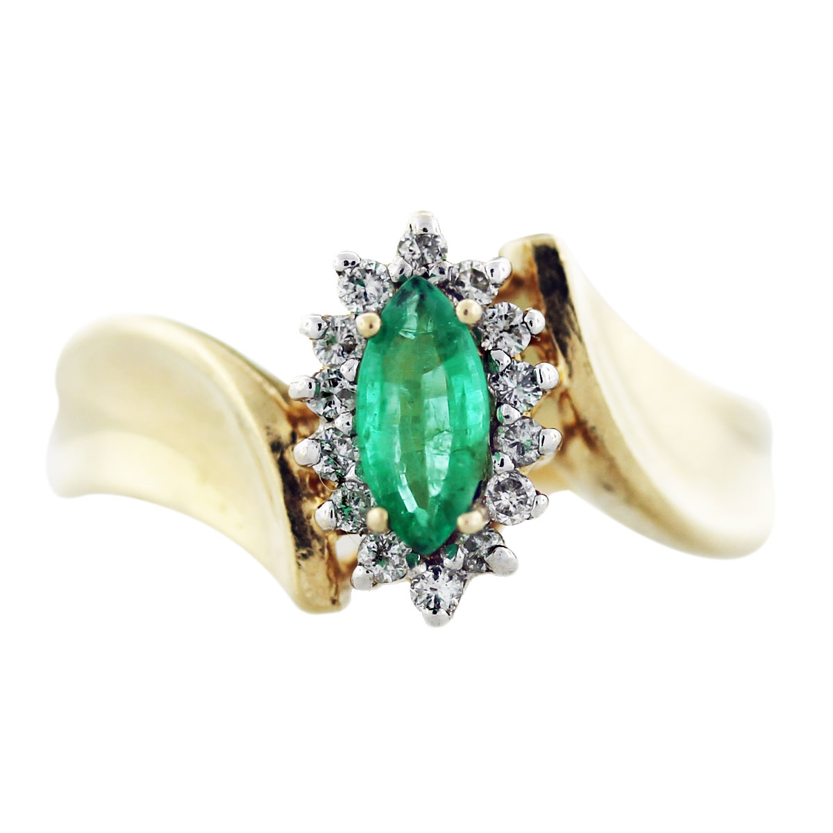 Yellow Gold Marquise Cut Emerald And Diamond Ring Boca Raton