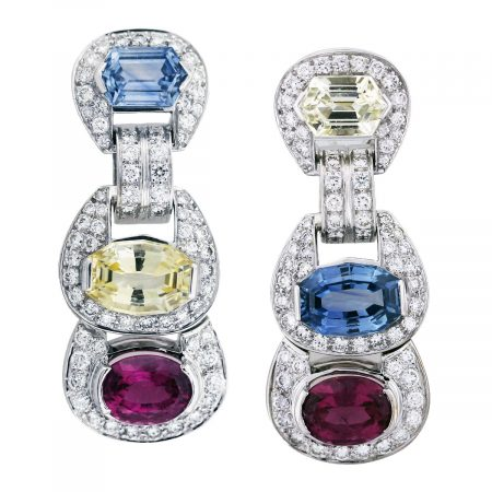 gemstone diamond earrings