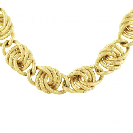 18K Yellow Gold Textured Link Necklace