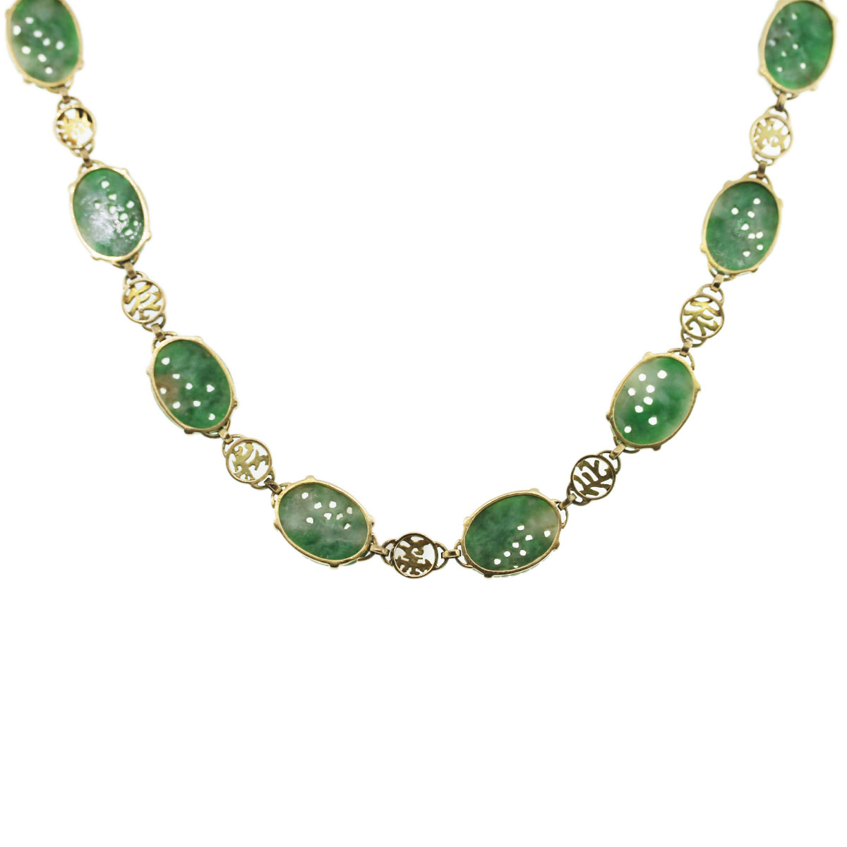 Vintage carved jade necklace 14k yellow gold for Pictures of jade jewelry