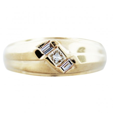 14K Yellow Gold Princess Cut Diamond Mens Ring