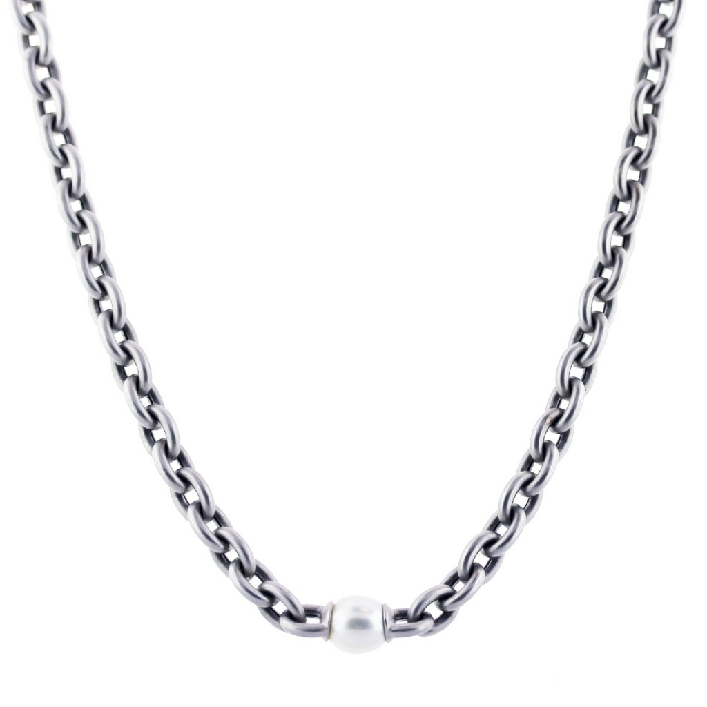 18k white gold matte finish pearl chain link necklace boca