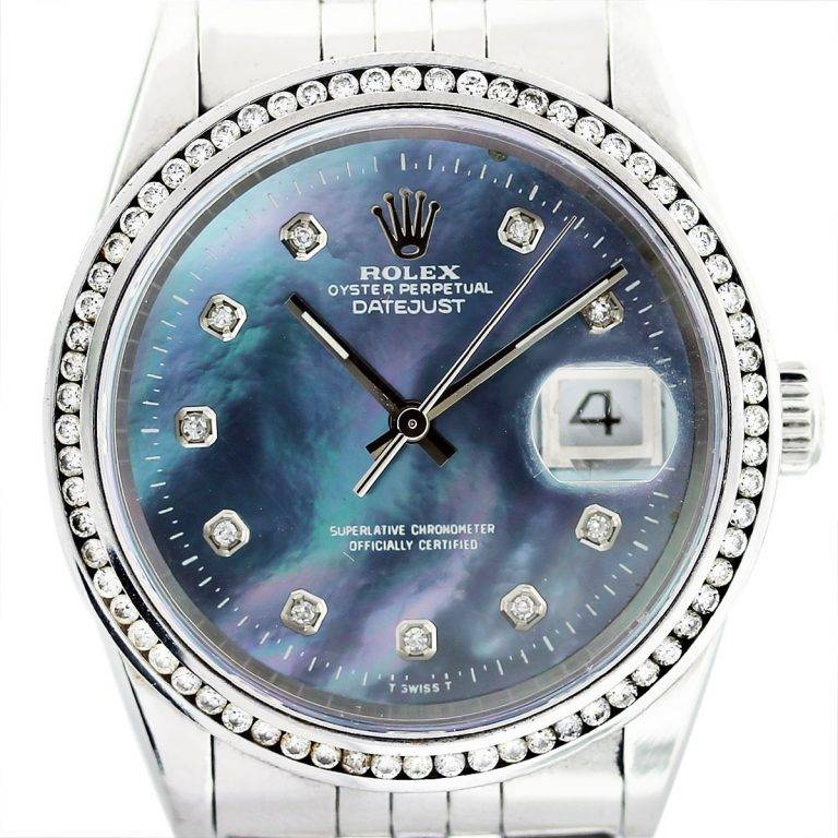 Rolex datejust 16220 tahitian mother of pearl dial mens watch for Pearl watches