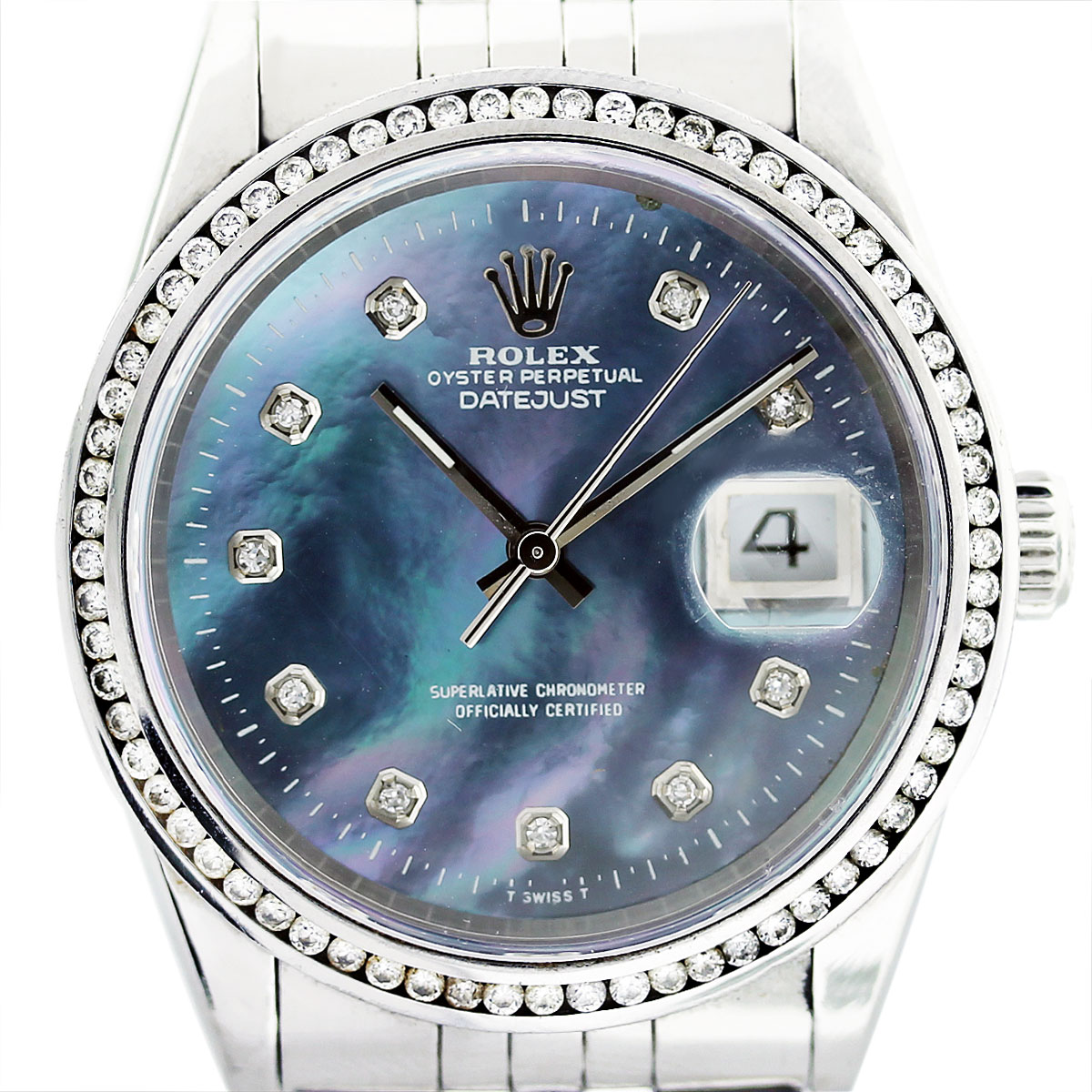 Rolex datejust 16220 tahitian mother of pearl dial mens watch for Mother of pearl dial watch