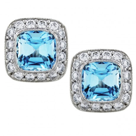 Tiffany and Co Legacy Aquamarine and Diamond Earrings in Platinum