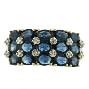 10kt-Yellow-Gold-Sapphire-Diamond-Ring, sapphire cocktail ring, vintage sapphire ring