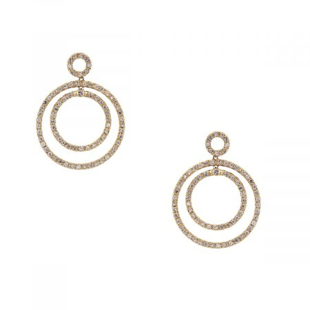 14k Yellow Gold Diamond Multi Circle Earrings